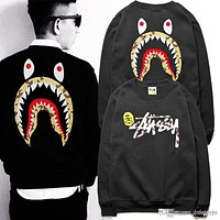 Letter Print Hoodies Sweatshirts Fashion Men's Shark Mouth Print Hoodies Hip Hop Skateboards Clothing Streetwear Hoodie Tops