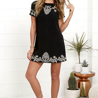 Tale to Tell Beige and Black Embroidered Shift Dress