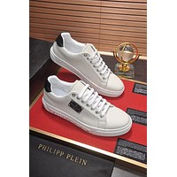 PP Philipp Plein Men's Leather Fashion Low Top Sneakers Shoes