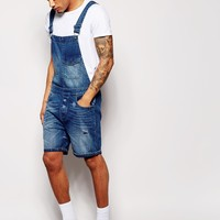 ASOS Overalls in Short Length Mid Wash