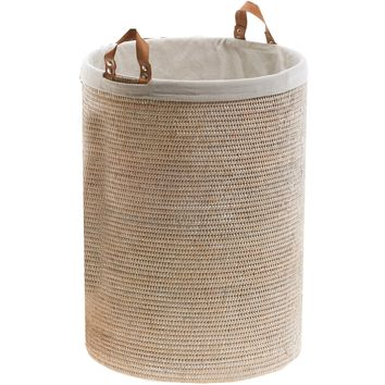 BASKET SPA Malacca Single Round Spa Hamper Laundry Basket with Handles - Light Rattan