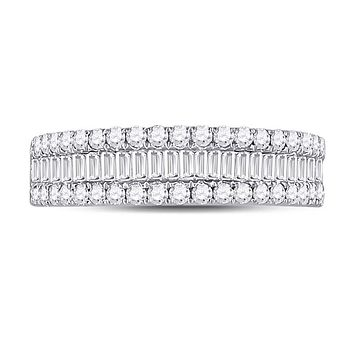 14k White Gold Baguette Diamond Fashion Anniversary Ring 1 Cttw