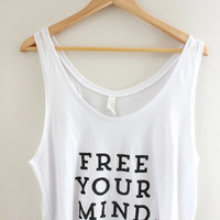 Free Your Mind Graphic White Flowy Crop Tank
