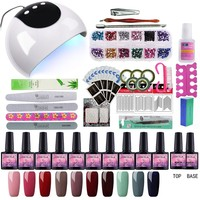10pcs Gel Polish Nail Art Set with Nail Lamp Dryer 24W Manicure Machine Set Lak Gel Nail Polish Set