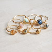 Dainty Stacking Rings,  Simple Gold Tone Rings, Gemstone Rings, Wire Wrap Rings