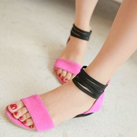 Sweetheart girl Flock open toe wedge heel ankle strap sandals woman low-heeled shoes EUR 34-43 Drop Shipping