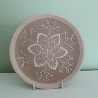 Beautiful Plate with Snowflake or Flower, Floral Design, Folk Art, Ceramic Pottery Plate, Wall Decor, Light Brown