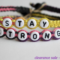 Clearance Sale, Half Price Stay Strong Bracelets, Purple Yellow Pink Black, Flirt Macrame Hemp Jewelry, Recovery Gift for Her