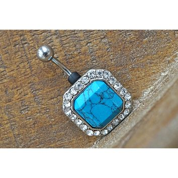 Turquoise and Crystal Belly Button Ring