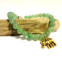 Green Jade Beaded Bracelet, Gold Tone Elephant Charm Bracelet, Karma Jewelry, Good Luck Elephant Charm