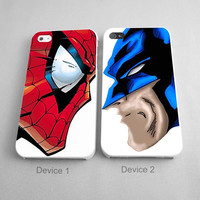 Couples Case Superhero Wolverine and Spiderman Couples Phone Case iPhone 4/4S, 5/5S, 5C Series - Hard Plastic, Rubber Case