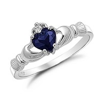 Sterling Silver Irish Claddagh Friendship Ring with Simulated Blue Sapphire Size 7