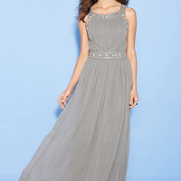 FOREVER 21 Beaded Chiffon Maxi Dress