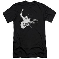 Elvis Presley Premium Canvas T-Shirt Black and White Photo Black Tee