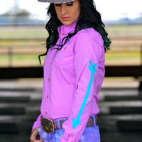 Lavender Button Up with Turquoise Arrows
