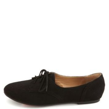 Lace-Up Low Profile Oxfords by Charlotte Russe - Black
