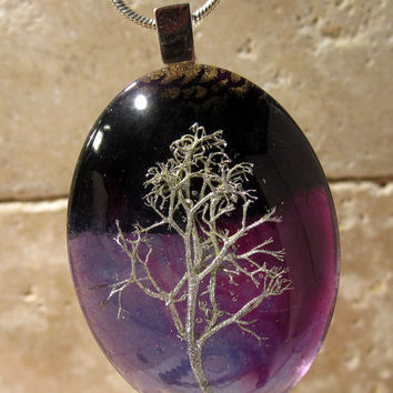 Reindeer Lichen Necklace, Moss Jewelry, Plant jewellery, Mycology, fungi, woodland, nature,