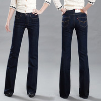 High Quality Promotion Women's Slim Mid Waist Boot Cut Jeans Fashion Bell Bottom Trousers Comfortable Flares Pants Free Shipping