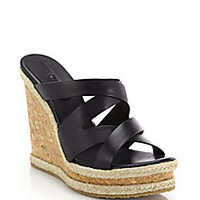 Jimmy Choo - Prisma Cork-Wedged Leather Mule Sandals - Saks Fifth Avenue Mobile