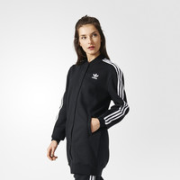 """Adidas"" Women Casual Stripe Medium Long Section Long Sleeve Cardigan Jacket Coat"