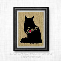Maine Coon Cat Love - Burlap Printed Wall Art: Silhouette, Cats, Kittens, Kitten, Artwork, Rustic, Country, Typography, Cat Lover