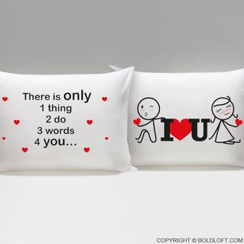 3 Words for You™ His and Her Couple Pillowcases-Couples Gift,His and Hers Pillow Case Set,Boyfriend Gift,Gifts for Girlfriend,Anniversary Gift,Valentines Day Gift,Wedding Gift,Gift for Him,Gift for Her