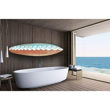 Wooden Surfboard Wall Art with Wave Design, Blue and Red