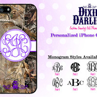 Camo Monogram iPhone 4 / iPhone 4S / iPhone 5 / iPhone 5S / iPhone 5C Stylish Country Chic Cell Phone Case - Grape & Camo (CP1505)