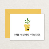 You're My Favorite Potty Mouth A2 Printable Greeting Card