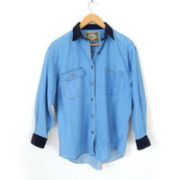 Vintage 90s Velvet Collar Denim Oxford - Women's Oversized Chambray Blue Button Up Shirt Black Collar and Cuffs
