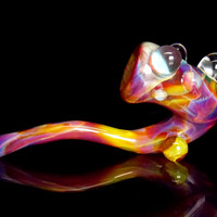 Heady One of a Kind Glass Sherlock Smoking Pipe - Unique Amber Purple Pink Blue Colors with Large Clear Magnifier Marbles and Kickstand