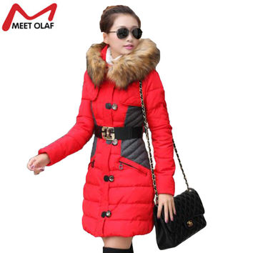 New Fashion Women Winter Jacket Warm Hooded Cotton  Down Coat Fur Clothing For Female Winter Outwear Wadded yl0041