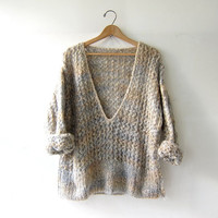 vintage wool sweater. chunky loose knit pullover. Deep v neck sweater. Gray & light pink. Sheer see through sweater.