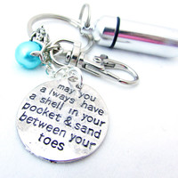 Mermaid Pill Case Keychain, Sand Between Your Toes Quote Keychain, Pearl and Mermaid Keyring, Beach Car Accessory, Urn Keychain