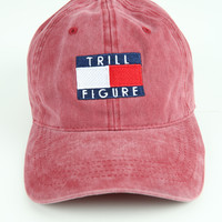 The Trill Figure Dad Hat in Maroon Mineral