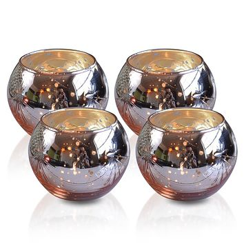 4 Pack | Vintage Mercury Glass Globe Candle Holders (3-Inch, Mary Design, Rose Gold Pink) - For use with Tea Lights - Home Decor, Parties and Wedding Decorations