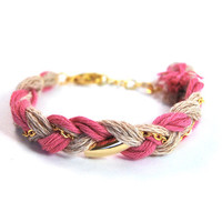 Braid bracelet with gold plated chain from organic cotton, pink and beige friendship bracelet