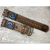 Leather Apple Watch Band Celestial Sun Moon and Northern Star