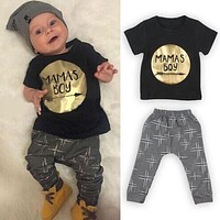 2Pcs Newborn Toddler Baby boys girls Infant Clothes Golden Letter Mamas Boys Printed Jumpsuit Outfit Sets 0-24M UK