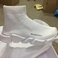 Balenciaga Fashion Women Men Street High-End Simple Black White Socks Shoes Shoes Sneakers White I