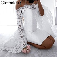 Off Shoulder Lace Women Dress  Flare Sleeve Bodycon Summer Dress Evening Party Elegant Dress
