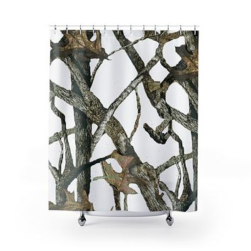 White Camo Shower Curtain with Hunting Pattern