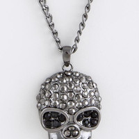 LARGE CRYSTAL LINED SKULL PENDANT NECKLACE