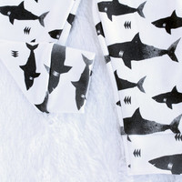 READY TO SHIP! Organic baby leggings in shark print, baby leggings, baby pants, toddler leggings, toddler pants
