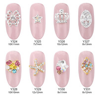 10pcs Silver tone new nail butterfly nail art decorations star crown starfish rhinestones shaped strass nail supplies Y324~331