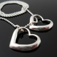 Double Heart Chain, Slide Heart, Silver Necklace, Sterling Necklace, 925 Heart Necklace, Italy 925 Necklace, Bead Necklace, Silver Jewelry