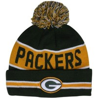 New Era Green Bay Packers The Coach Cuffed Knit Beanie with Pom - Green/Gold