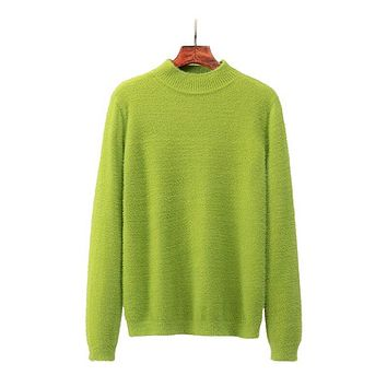 Green Neon  Autumn Winter Faux Mink Cashmere Knitted Sweater Women Casual O-neck Candy Colors Pullovers Sweater