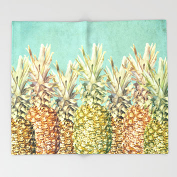 Pineapple Paradise Throw Blanket by Lisa Argyropoulos | Society6