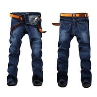 Stretch JEANS / Straight Denim Men Jeans